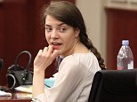 **MUST LINK BACK TO http://www.cincinnati.com/story/news/2015/04/23/hubers-trial-jurys-hands/26268465/**   Shayna Hubers looks back at her mother, Sharon, during a break in the trial on Thursday. (Photo: The Enquirer/Patrick Reddy)