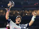 GLENDALE, AZ - FEBRUARY 01:  Tom Brady #12 of the New England Patriots celebrates with the vince Lombardi Trophy after defeating the Seattle Seahawks 28-24 during Super Bowl XLIX at University of Phoenix Stadium on February 1, 2015 in Glendale, Arizona.  (Photo by Elsa/Getty Images)