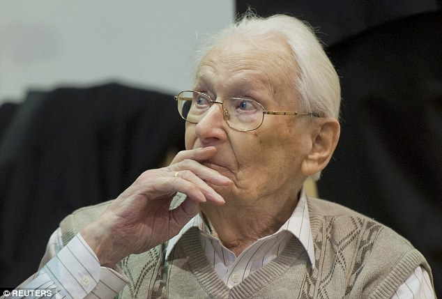 A former SS sergeant (pictured) described in chilling detail Wednesday how cattle cars full of Jews were brought to the Auschwitz death camp, the people stripped of their belongings and then most led directly into gas chambers