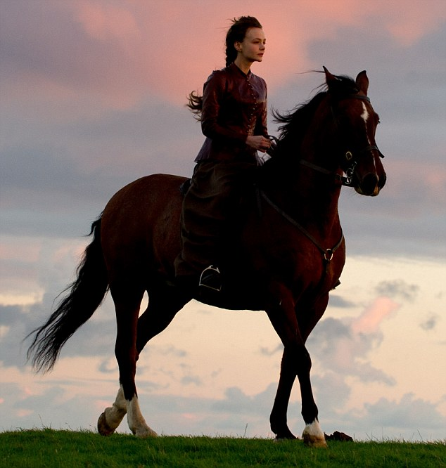 In Carey Mulligan's (pictured) very first scene in Far From The Madding Crowd, she is seen racing through the wood on horseback