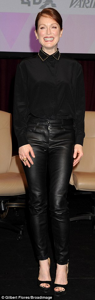Fierce! The 54-year-old Oscar winner completed her edgy ensemble with a Givenchy blouse featuring a studded collar and peep-toe heels