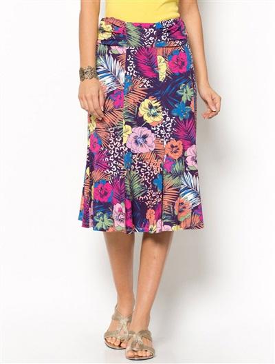 Floral<br /> Print Flared Skirt