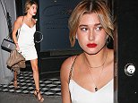 Hayley Baldwin leaving Craig's Restaurant where Joanna Krupa was celebrating her BirthDay April 23rd 2015\nMaciel/x17oline.com\nOK FOR WEB SITE USAGE\nAny queries call X17 UK Office /0034 966 713 949/926 \nAlasdair 0034 630576519 \nGary 0034 686421720\nLynne 0034 611100011