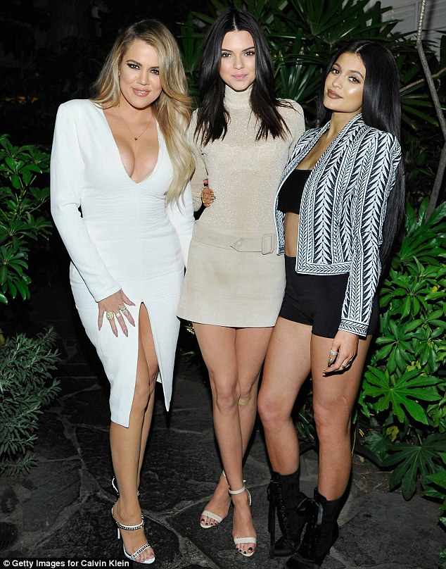 Sister sister: Khloe, Kendall and Kylie certainly dressed to impress for the occasion as they partied up a storm at the Chateau Marmont