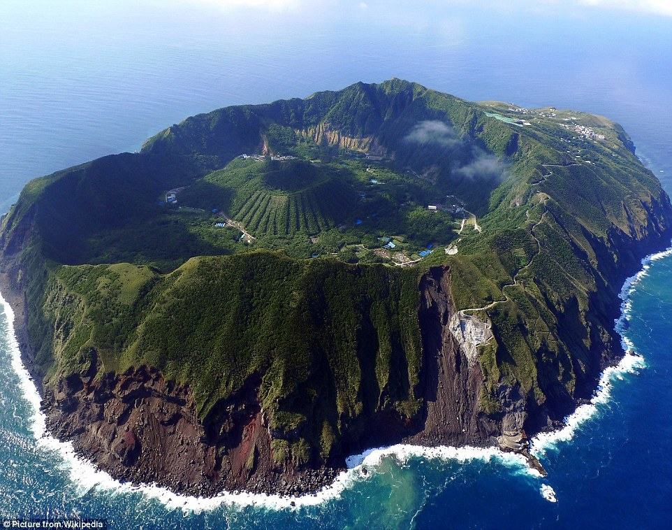Bravest village ever? The settlement of Aogashima in the Philippine Sea, has 200 inhabitants who live in the middle of a volcanic crater