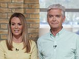 EDITORIAL USE ONLY. NO MERCHANDISING.. Mandatory Credit: Photo by Ken McKay/ITV/REX Shutterstock (4681923cb).. Amanda Holden and Phillip Schofield.. 'This Morning' TV Programme, London, Britain. - 20 Apr 2015.. ..