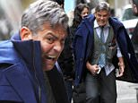 George Clooney and Jack O'Connell seen filming a scene at the 'Money Monster' movie set in Wall Street, Manhattan.\n\nPictured: George Clooney and Jack O'Connell\nRef: SPL1008187  240415  \nPicture by: Jose Perez / Splash News\n\nSplash News and Pictures\nLos Angeles: 310-821-2666\nNew York: 212-619-2666\nLondon: 870-934-2666\nphotodesk@splashnews.com\n