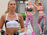 EXCLUSIVE TO INF.  April 22, 2015: Elsa Hosk is seen posing at a photo shoot for a Victoria's Secret catalogue in Santa Monica, California.  Elsa Hosk is the latest model to be granted 'Contract Angel' title since the departure of  Karlie Kloss and Doutzen Kroes from Victoria' Secret.  Mandatory Credit: Sasha Lazic/INFphoto.com  Ref.: infusla-257