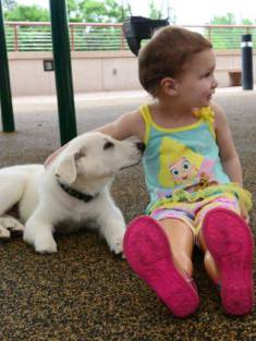 A little girl with no feet has adopted a very special puppy with no paw