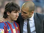 Barcelona's coach Pep Guardiola (R) talks with Barcelona's Argentinian forward Lionel Messi during their Spanish League football match between Barcelona and Jerez on April 24, 2010 at Camp Nou stadium in Barcelona. AFP PHOTO/LLUIS GENE (Photo credit should read LLUIS GENE/AFP/Getty Images)