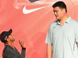 Mandatory Credit: Photo by Imaginechina/REX Shutterstock (4710568c)  Tiger Woods and retired basketball star Yao Ming  Tiger Woods teaches Yao Ming to play golf, Nike headquarters, Shanghai, China - 24 Apr 2015