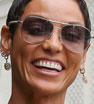 Beaming: Model Nicole Murphy looks incredibly happy on a daytime jaunt following a lunch date in Beverly Hills