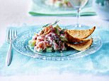 Marinated Salmon and Smoked Salmon in Lime with Cr?®me Fra?Æche, Pink Peppercorns and Cucumber