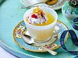 Lemon jellies with strawberry and lemon cream