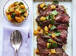 Rare Beef Salad with Roasted Pineapple and a Ginger Dressing
