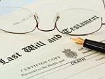 Last Will and Testament document with a Death Certificate, a pair of metal rimmed reading glasses and a fountain pen