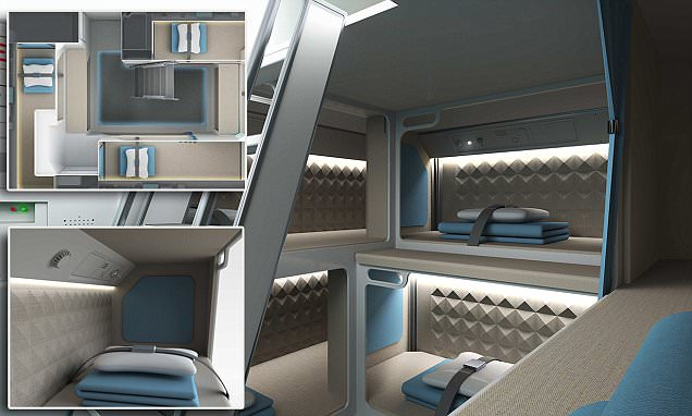 Zodiac Aerospace design unveils individual pods where staff can sleep in-flight