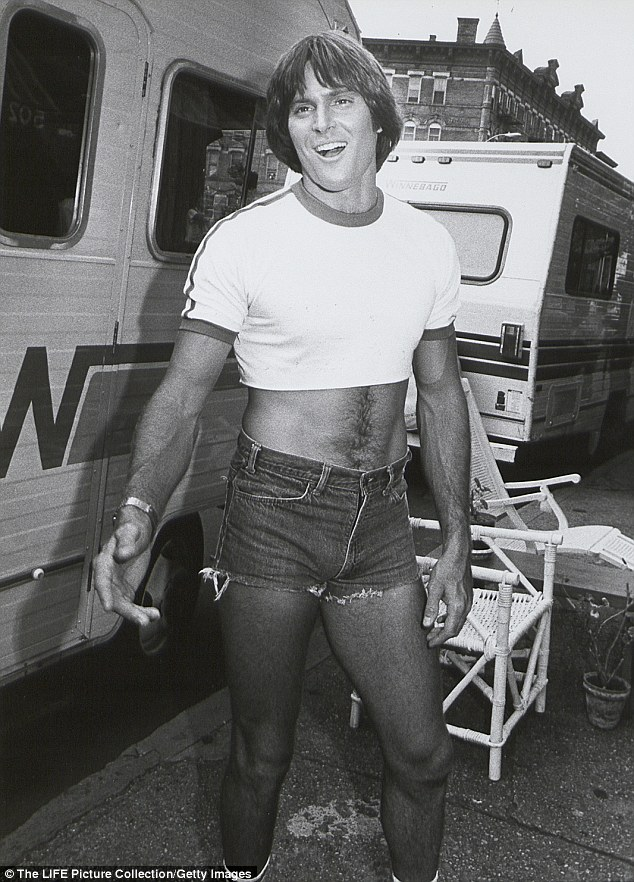 Before the changes: Bruce, seen here on set, still had his athletic physique and heavy set masculine features when he appeared in the 1980 film Can't Stop The Music. These were noticeably gone by the end of the decade