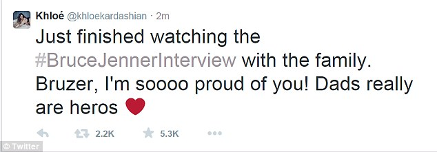 Regardless, the 30-year-old presenter tweeted: 'Just finished watching the #BruceJennerInterview with the family. Bruzer, I'm soooo proud of you! Dads really are heros'