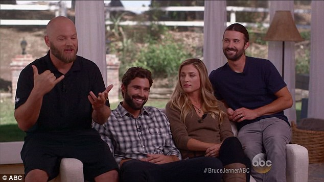 'It finally makes sense': The father-of-six revealed his older children - Burt (L), Brody (M), and Casey (2-R) had mixed reactions to his big news