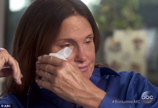 Tearful: Bruce revealed that he identifies as a woman in his explosive interview with Diane Sawyer last night