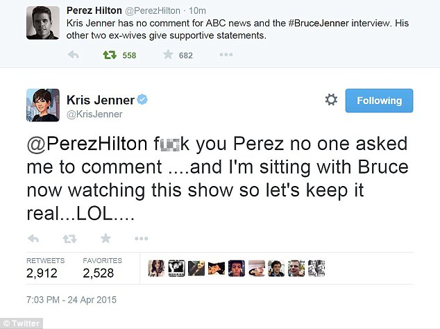 Hit out: Kris wrote this on Twitter minutes after viewers heard she refused to comment on the show