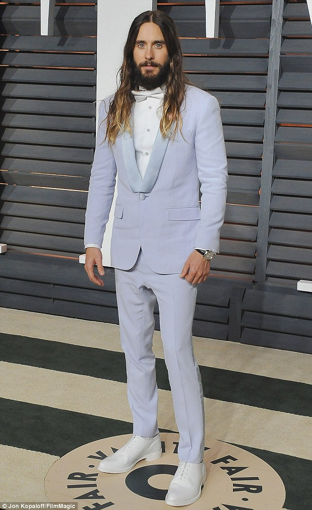 Transformation: Leto - famed for his commitment to roles - shaved off his eyebrows, beard, and chopped off his luscious mane of ombré tresses (pictured February 22)