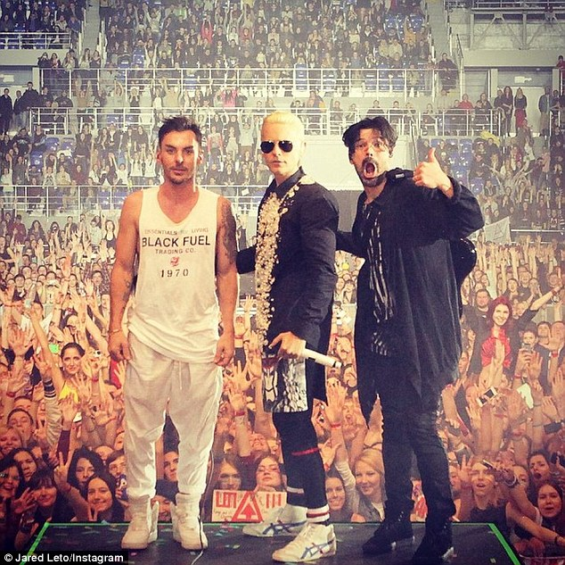 Always on the road: Meanwhile, Jared's band 30STM will next take their Adventures in Wonderland Tour to Austria's ski resort Ischgl in Tyrol on May 2