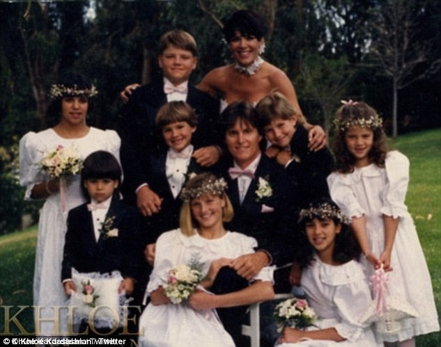 Blended family: When Bruce and Kris wed in 1991, their eight children together participated in the ceremony. The happy couple are seen here with Kris' three daughters and one son with her ex-husband Robert Kardashian, Bruce's two sons with Linda and his son and daughter with Chrystie