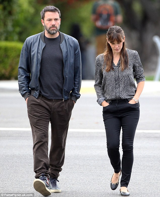 Glum: A downcast Ben Affleck seen in Hollywood, with his wife Jennifer Garner, for the first time since his apology for censoring his family slavery past