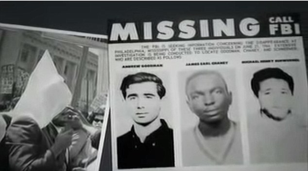 Link: As pictures of three civil rights campaigners murdered in 1964  (from left, Andrew Goodman, James  Chaney, and Michael Schwerner) were shown on screen, Prof Gates called them 'three of Ben's mom's fellow activists'. In fact the was in the South the following year, she told Daily Mail Online