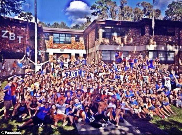 Allegations: Students from Zeta Beta Tau at both the University of Florida (pictured) and Emory University have been accused of disrespecting the ex-servicemen during the Warrior Beach Retreat in Panama City on April 17. It is not know whether anyone in this picture was involved