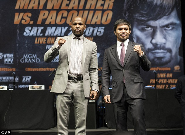 Floyd Mayweather (left) and Manny Pacquiao (right) will fight on Saturday, May 2, in Las Vegas, Nevada