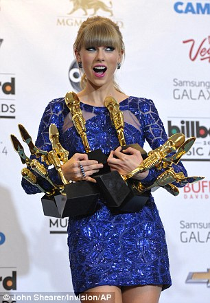 Musician Taylor Swift poses with her awards at the Billboard Music Awards in 2013