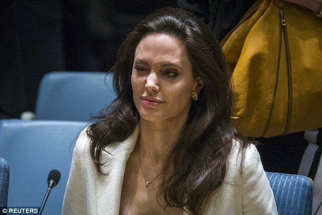 Special envoy, Angelina Jolie, winked as she took her seat at the UN Security Council Meeting in Manhattan