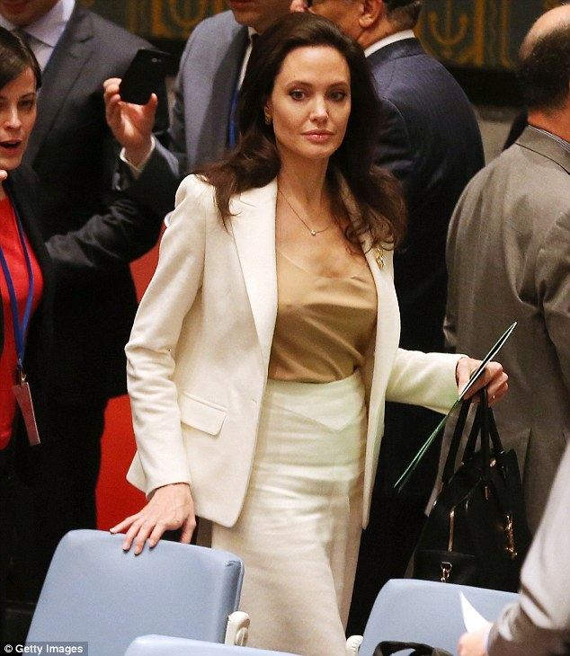 Angelina Jolie pictured at the United Nations on Friday. She has been a UNHCR Goodwill Ambassador since August 2001