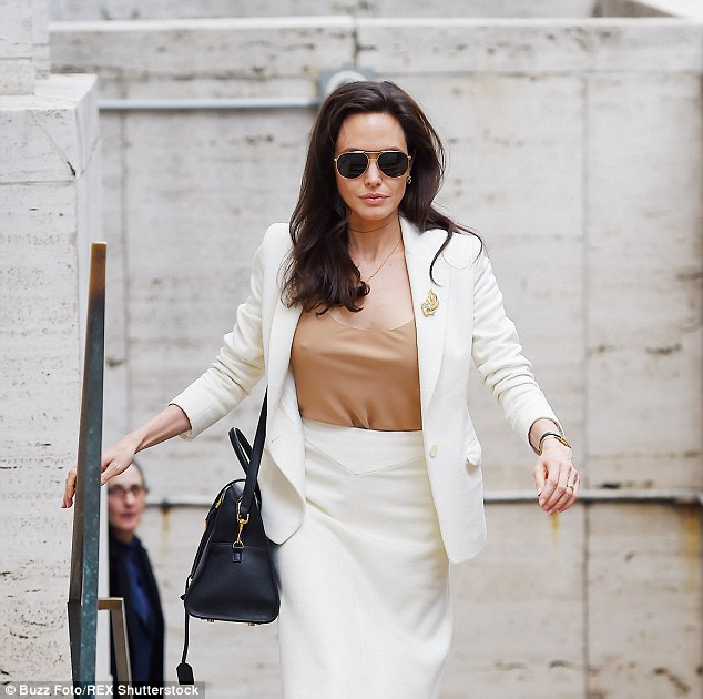 Angelina Jolie was spotted leaving the David H. Koch Theatre at Lincoln Center in New York City on Friday where she attended the Women in the World Summit