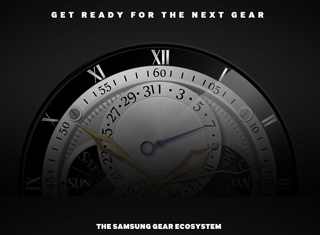 Simply referred to as 'the next Gear', images of the watch's circular face (pictured) were unveiled as part of an announcement about Samsung's upcoming developer scheme.In its press release, Samsung said: 'The new wearable device will be the 7th generation of Samsung Gear with a wrist watch type'