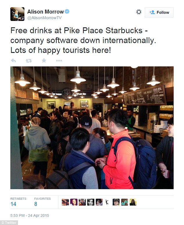 Seattle TV reporter Alison Morrow took this photo of a throng of tourists swarming the Pike Place Starbucks location