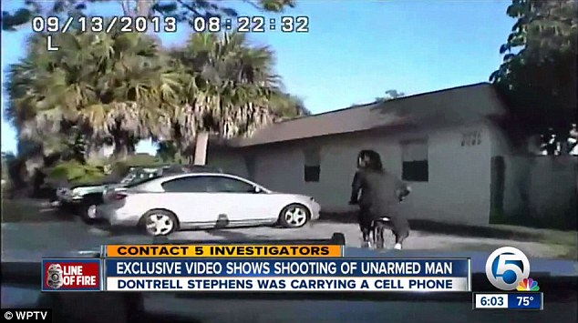 Dashcam footage from a Florida cop car taken in September of 2013 showsDontrell Stephens being followed