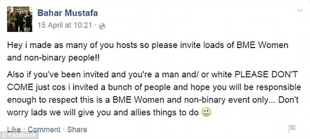 Row: Ms Mustafa appeared to ban men and white people from attending the meeting in this Facebook post