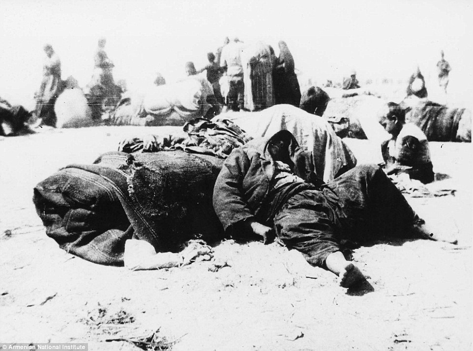Orphans of the massacre take a rest.Hundreds of thousands of Armenians were forced from their homes in Anatolia and herded towards Syria