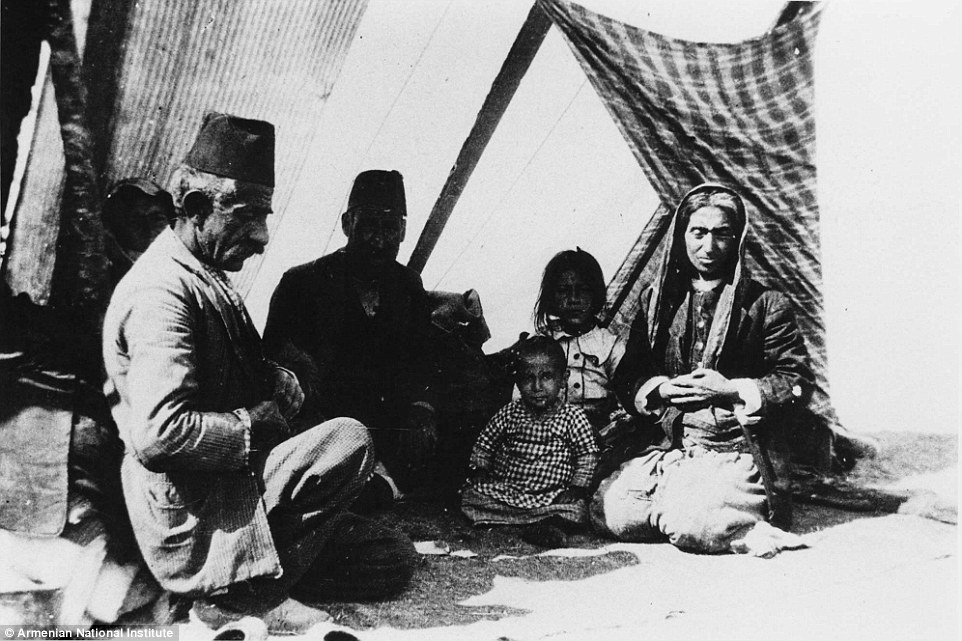 Three generations of the same family of refugees take shelter from the son in a makeshift tent.Many of those targeted for expulsion starved to death, were shot or bayoneted by Ottoman Turkish soldiers