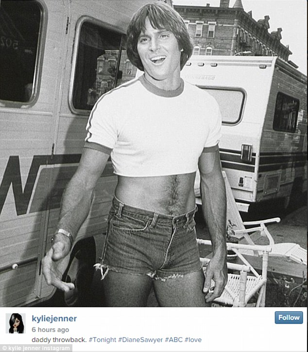 'Daddy throwback': Kylie posted a black and white photo of Bruce wearing Daisy Dukes