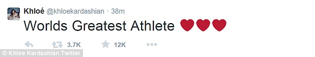 'Worlds Greatest Athlete': The 30-year-old expressed her love for Bruce on Twitter on Friday