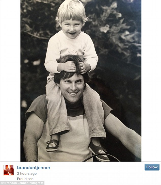 'Proud son': Brandon shared a sweet message with a throwback photo of him and Bruce