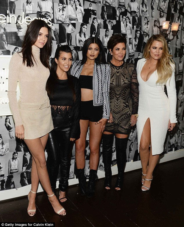 Mom's brood: Kendall and Kylie Jenner and Khloe and Kourtney Kardashian attended a Calvin Klein Jeans celebration launch with Kris on Thursday at Chateau Marmont in Hollywood
