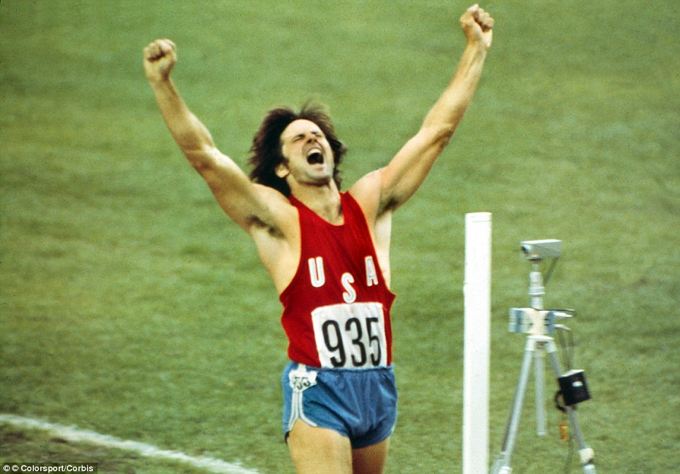 Crossing the finish line: The former athlete hasn't looked like the Olympian who won gold, here in 1976, for years. While competing in the iconic sporting event, Bruce was known for his bulging muscles and athletic physique