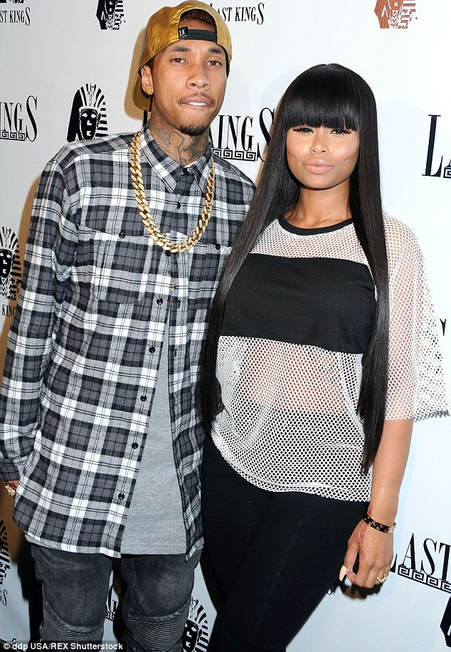 Once so close: Tyga and Blac dated from November 2011 to late 2014 and were engaged for less than two years; here they are pictured in February 2014