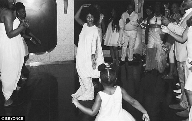 Moving and grooving: This black and white snap shows Beyonce's sister Solange dancing with Blue